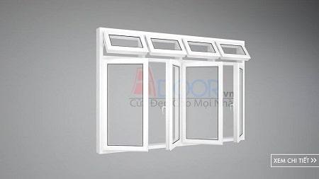 Cửa sổ mở lùa 4 cánh nhôm