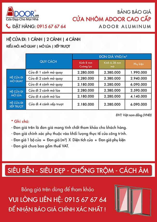 Bảng báo giá chi tiết cửa nhôm kính Xingfa Vinh