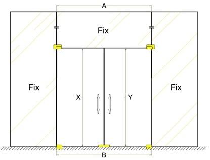 Bản vẽ mẫu cửa kính cường lực mở quay