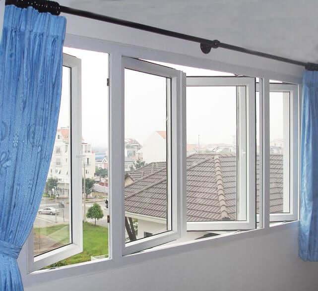 Mẫu cửa sổ 4 cánh mở quay màu trắng