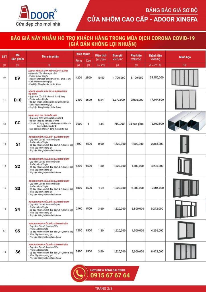 Bảng báo giá chi tiết cửa nhôm Biên Hòa