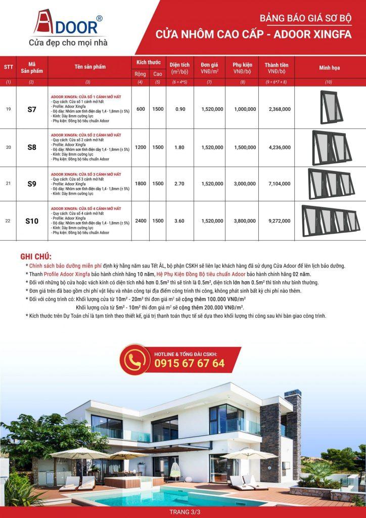 Bảng báo giá cửa nhôm tại Vinh của Adoor