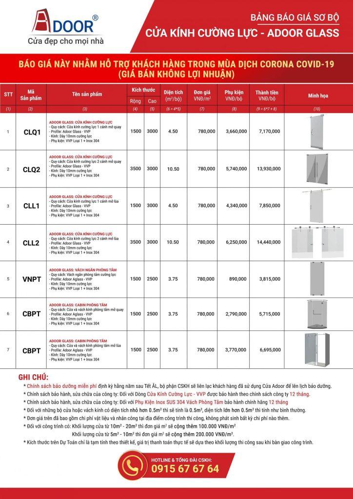 Bảng giá chi tiết tại Adoor