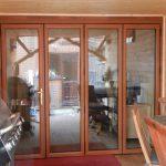 Mẫu cửa nhựa lõi thép 4 cánh màu vân gỗ