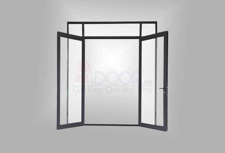 Mẫu cửa nhôm kính mở quay