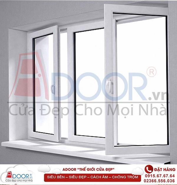 Giá cửa nhựa lõi thép hệ cửa sổ 3 cánh mở quay