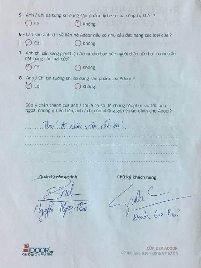 Phiếu đánh giá phản hồi từ khách hàng về Adoor