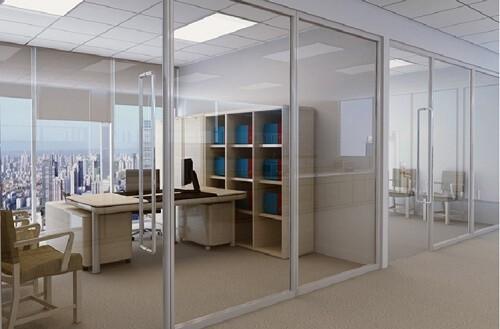 Mẫu cửa nhôm kính văn phòng mở lùa khung nhôm trắng