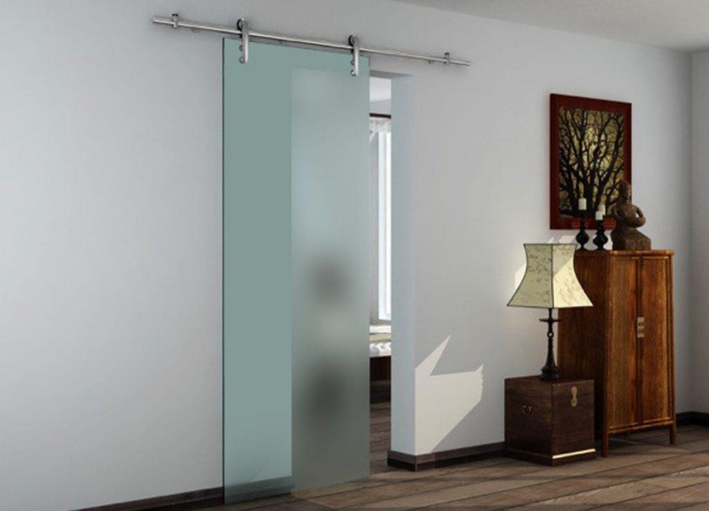 Mẫu cửa kính cường lực 1 cánh mở lùa phù hợp với phòng ngủ