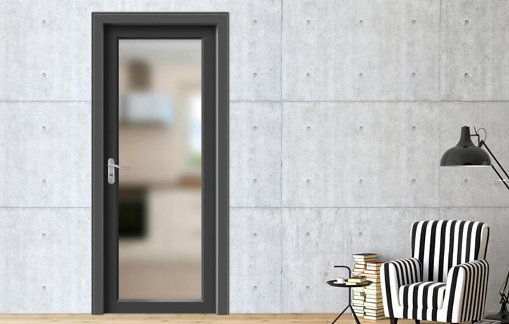 Mẫu cửa nhôm Xingfa 1 cánh phòng bếp màu đen
