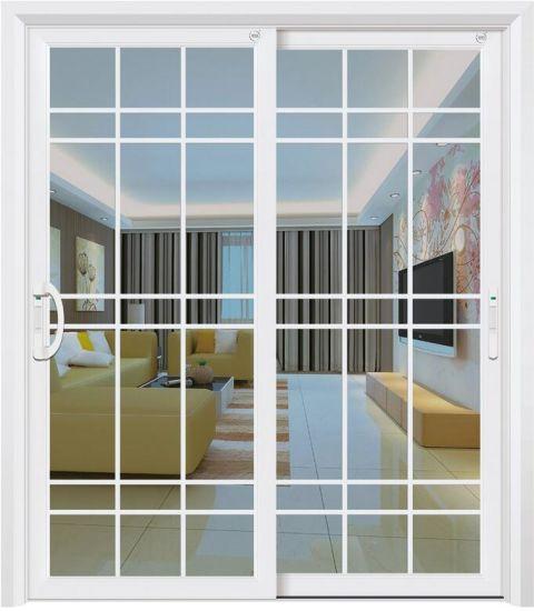 Mẫu cửa nhôm kính 2 cánh đẹp 2 cánh mở lùa phòng khách màu bạc