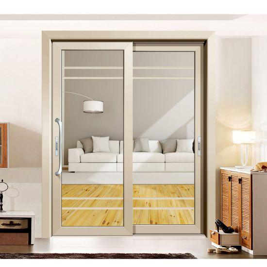 Mẫu cửa nhôm kính 2 cánh đẹp mở lùa trượt dành cho phòng khách màu vàng nhạt
