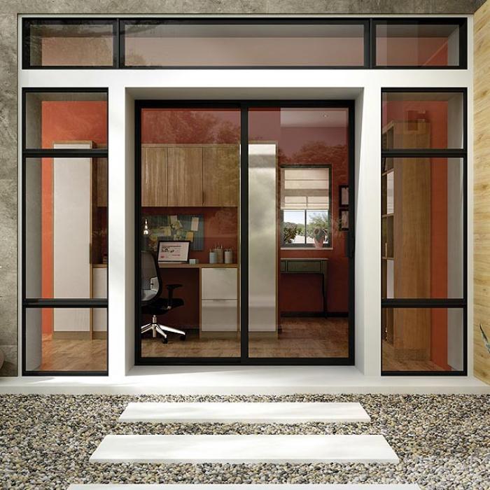 Mãu cửa nhôm kính 2 cánh Xingfa kiểu mở lùa trượt màu đen mặt kính trong suốt dành cho văn phòng