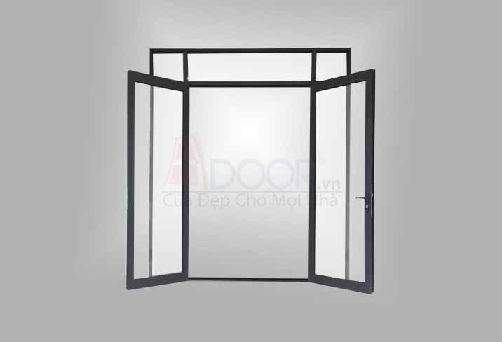 Mẫu cửa sổ nhôm Xingfa 2 cánh mở quay màu đen
