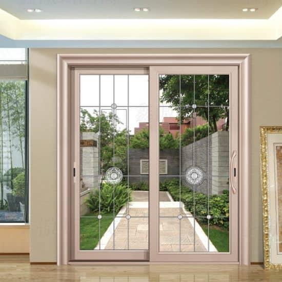 Kiểu cửa chính đẹp 2 cánh bằng nhôm Xingfa